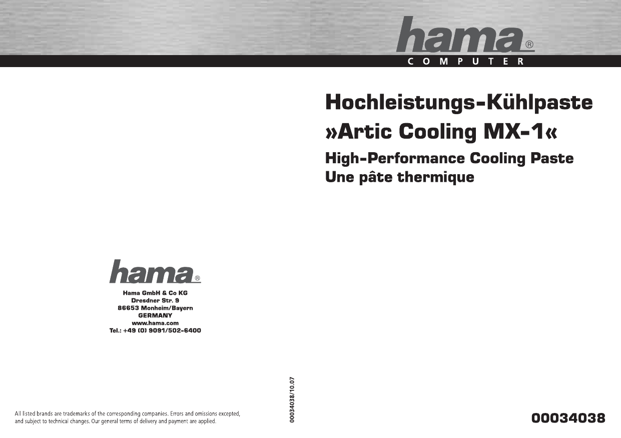 Hama 00034038 Arctic Cooling MX-1 High Performance Thermal