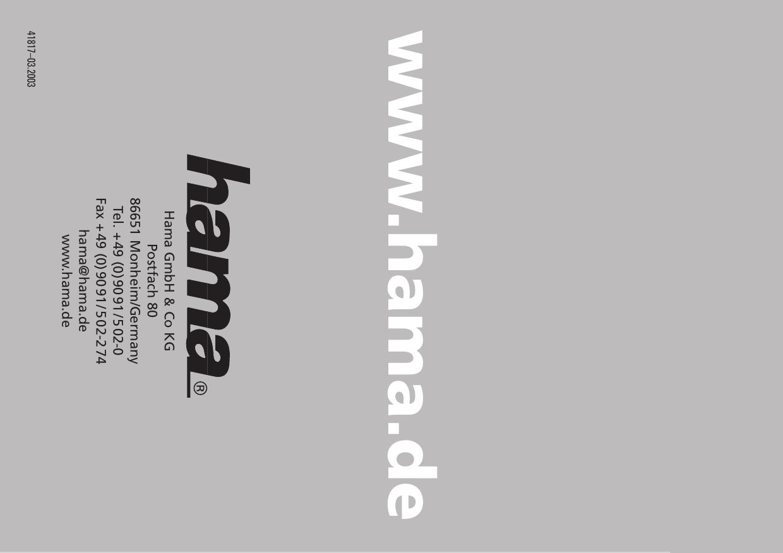 Hama 00041814 Cold Cathode Light Case Fan Owner Manual