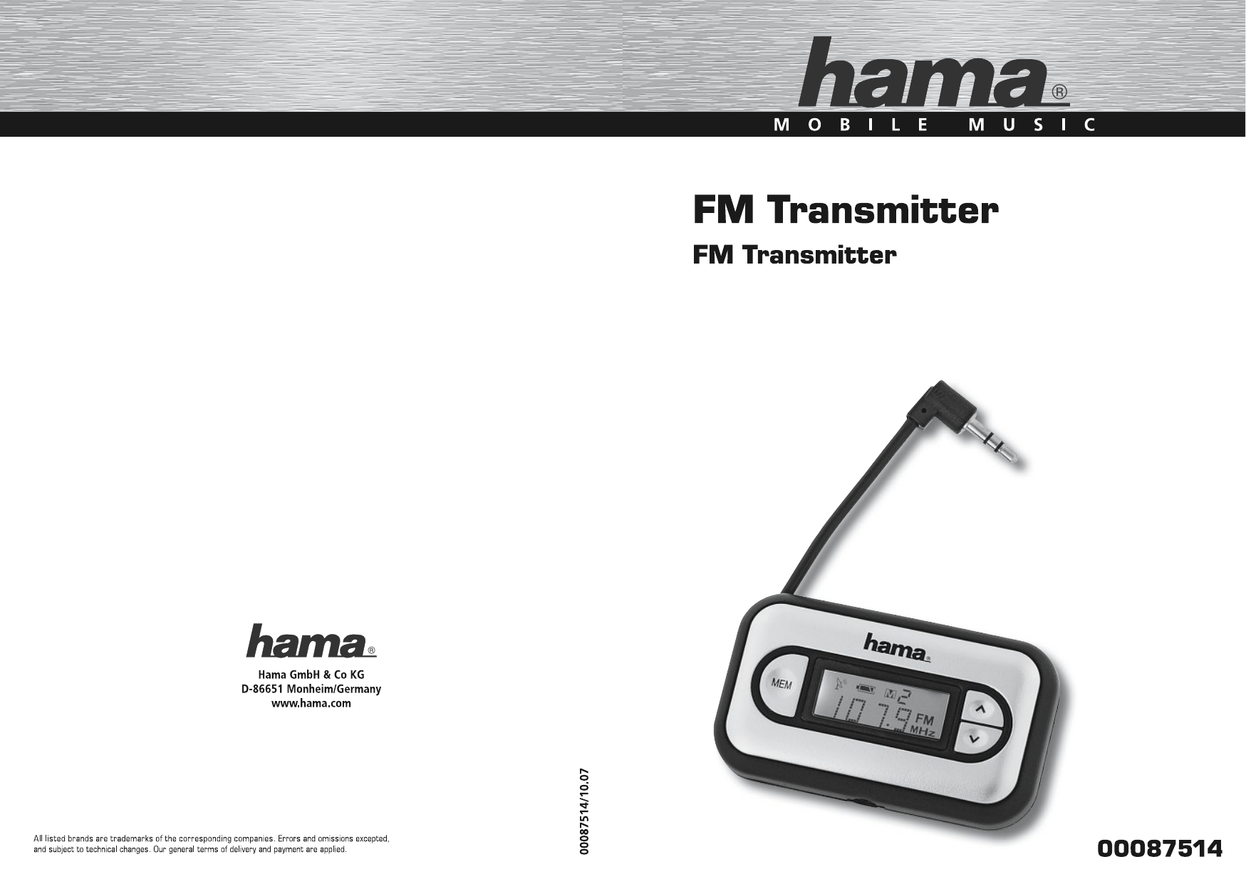 Hama 00087514 FM Transmitter for Apple iPhone/ iPhone 3G