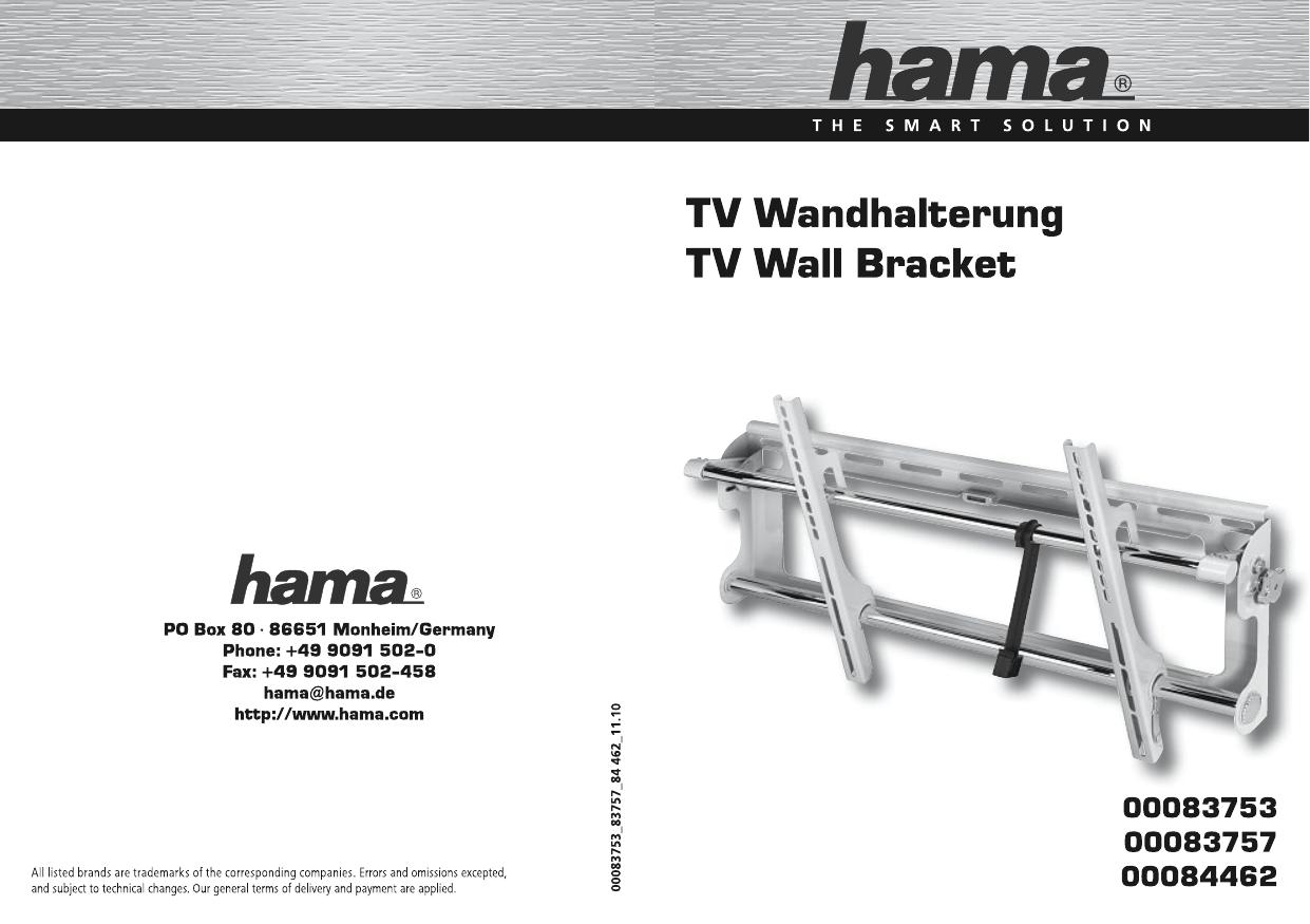 Hama 00084462 MOTION TV Wall Bracket, 5 stars, XL 用户手册
