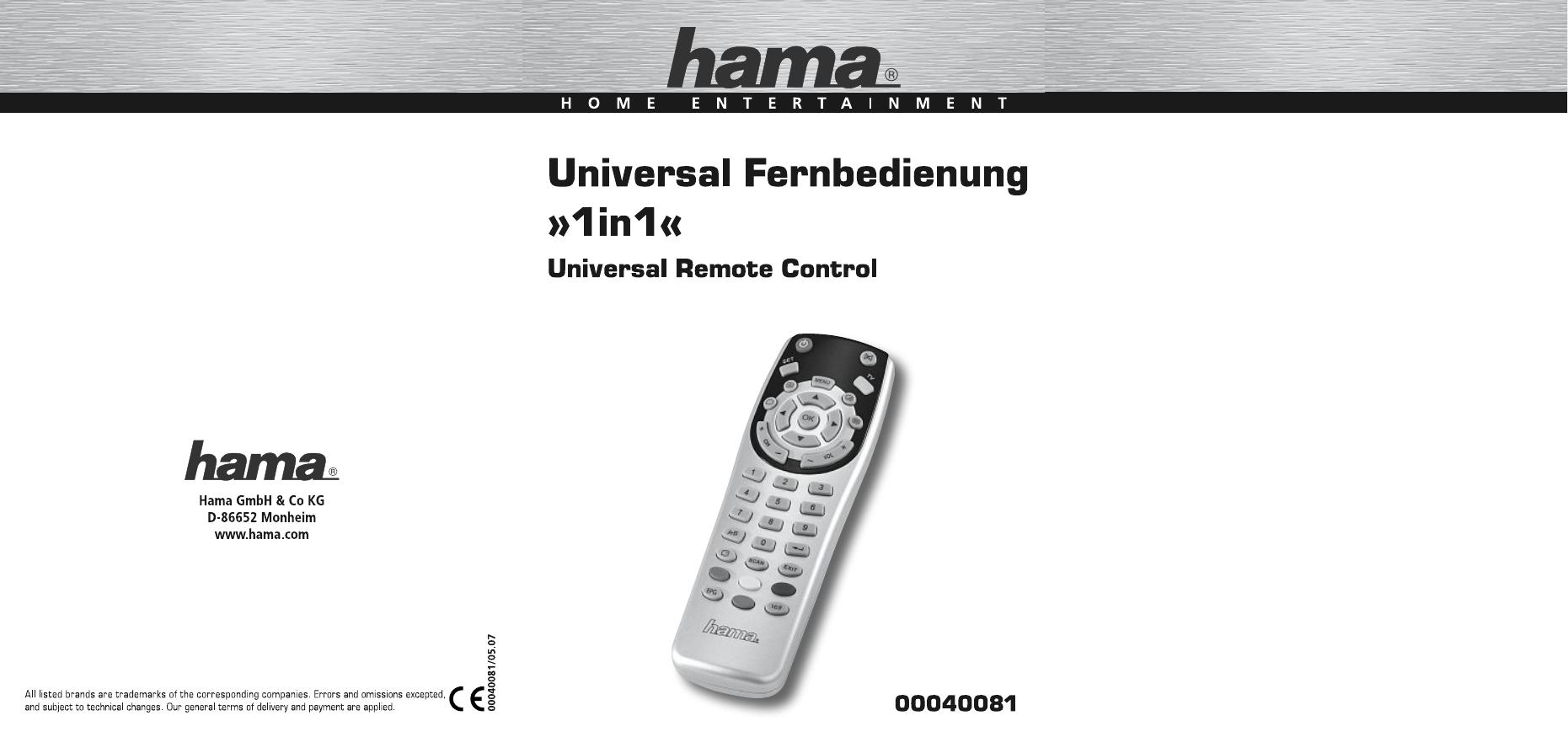 Hama 00040081 Universal 1in1 Remote Control