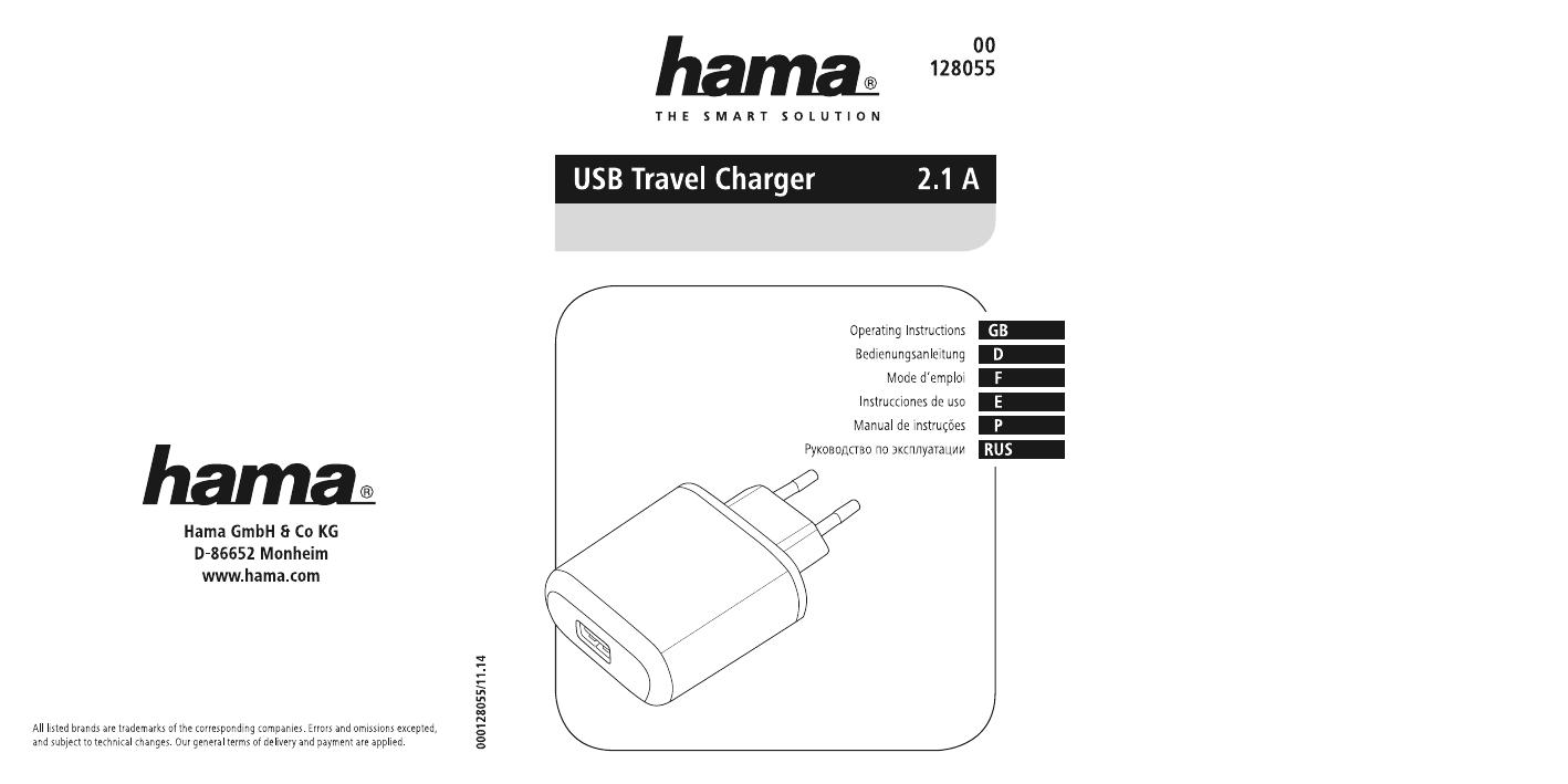 Hama 00128055 USB Travel Charger, ECO, 5 V/2.1 A