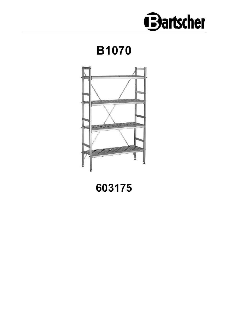 Bartscher 603175 Shelf system Kit 4, B1070 Operating