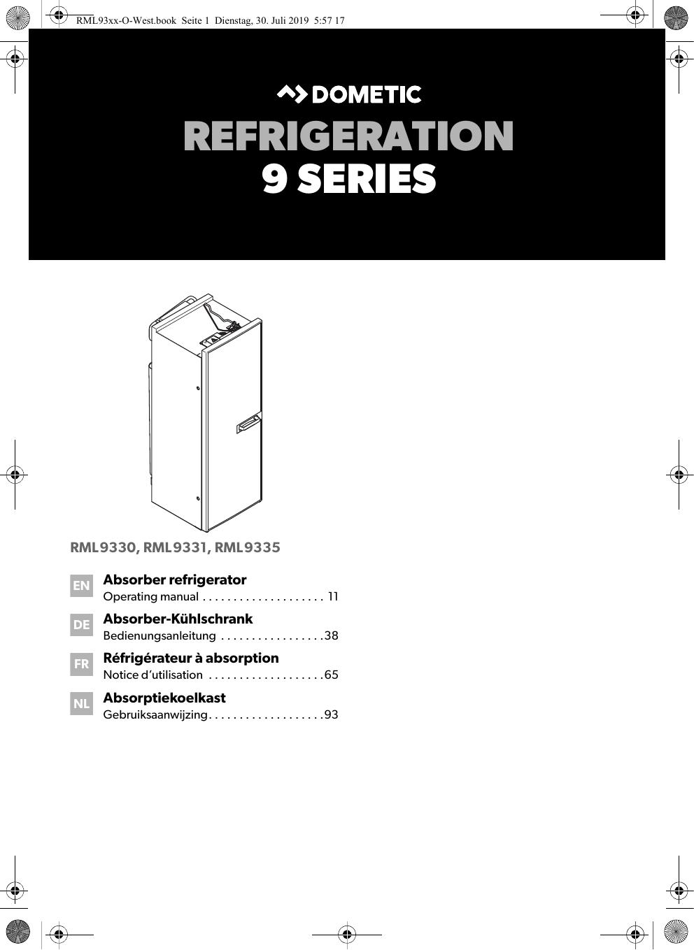Dometic RML9330, RML9331, RML9335 Absorber refrigerator