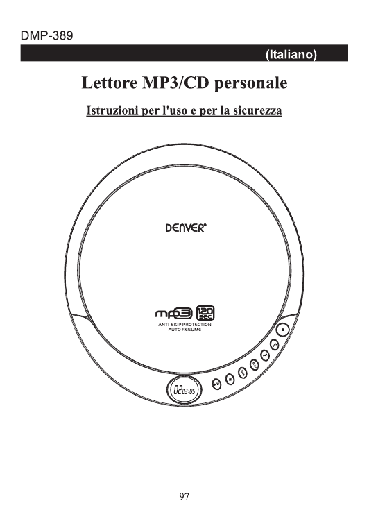 Denver DMP-389 Portable CD/MP3 player Manuale utente