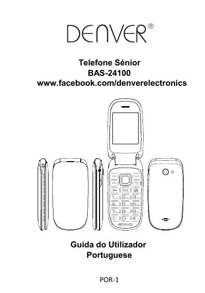 Denver BAS-24100M Senior flip phone Manual do usuário