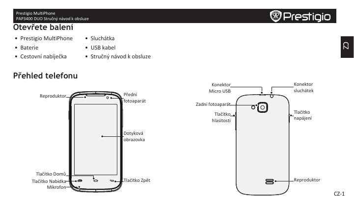 Prestigio MultiPhone 3400 DUO Stručná príručka spustenia