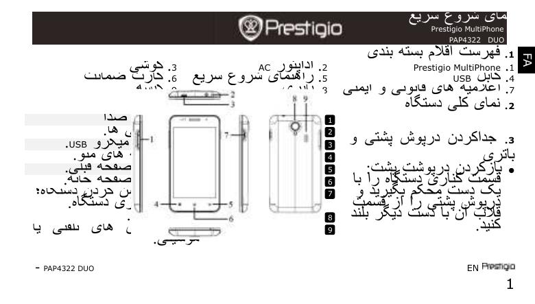 Prestigio MultiPhone 4322 DUO جلدی شروعات کیلئے رہنمائی