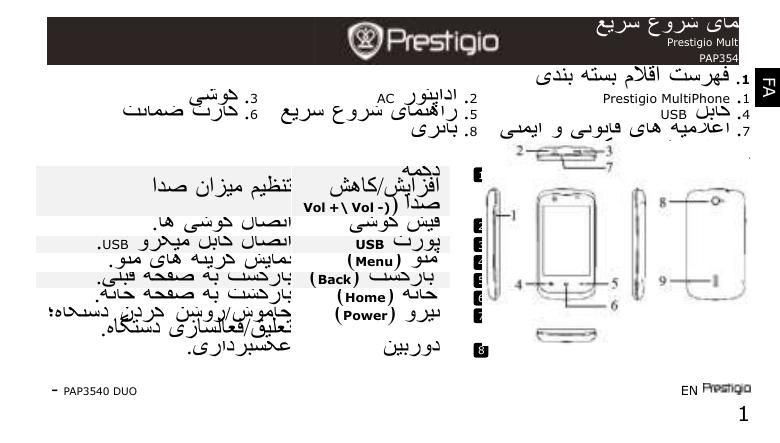 Prestigio MultiPhone 3540 DUO جلدی شروعات کیلئے رہنمائی