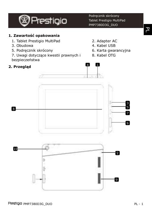 Prestigio MultiPad 2 PRO DUO 8.0 3G Skrócona instrukcja