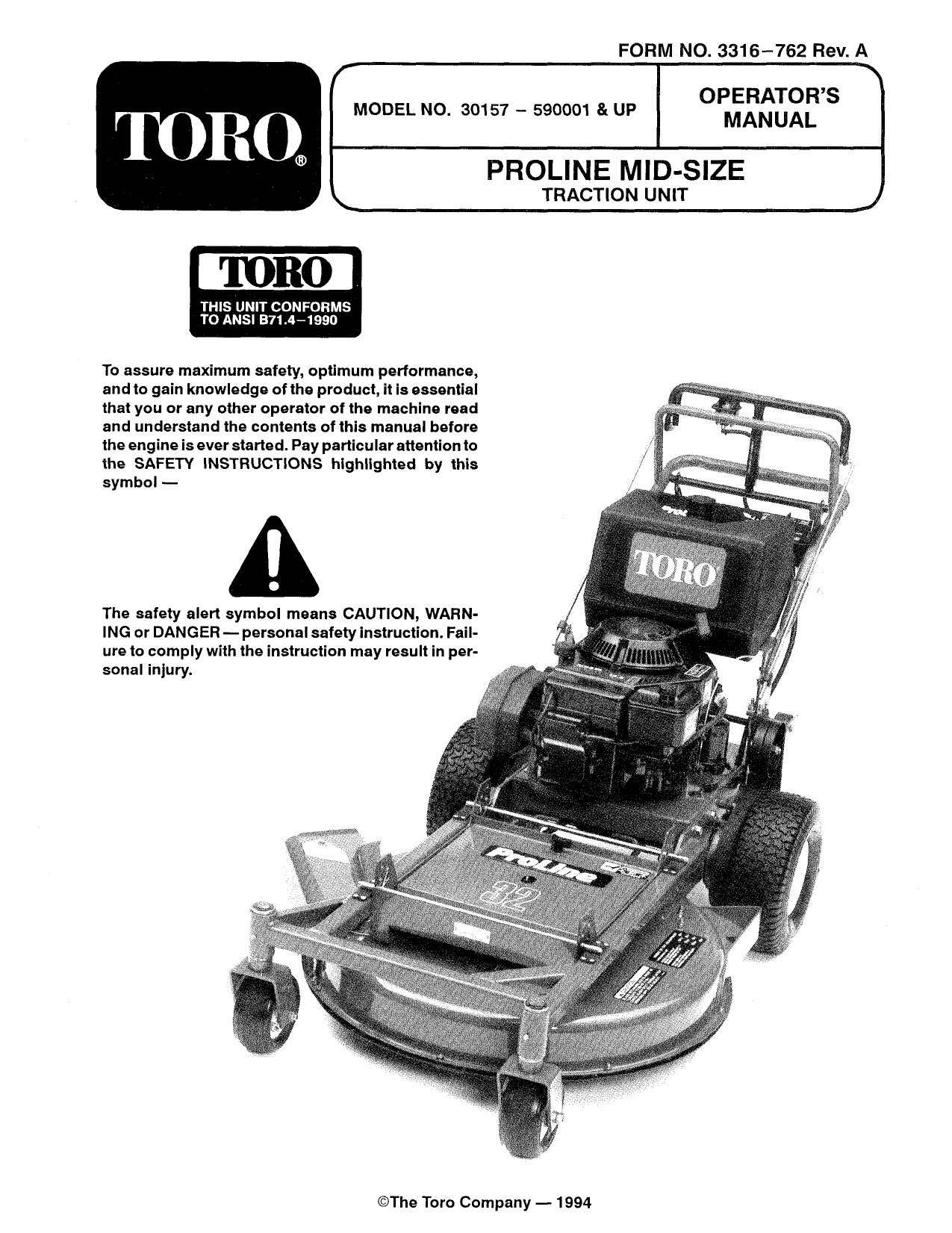 Toro Mid-Size Proline Gear Traction Unit, 12.5 hp Walk