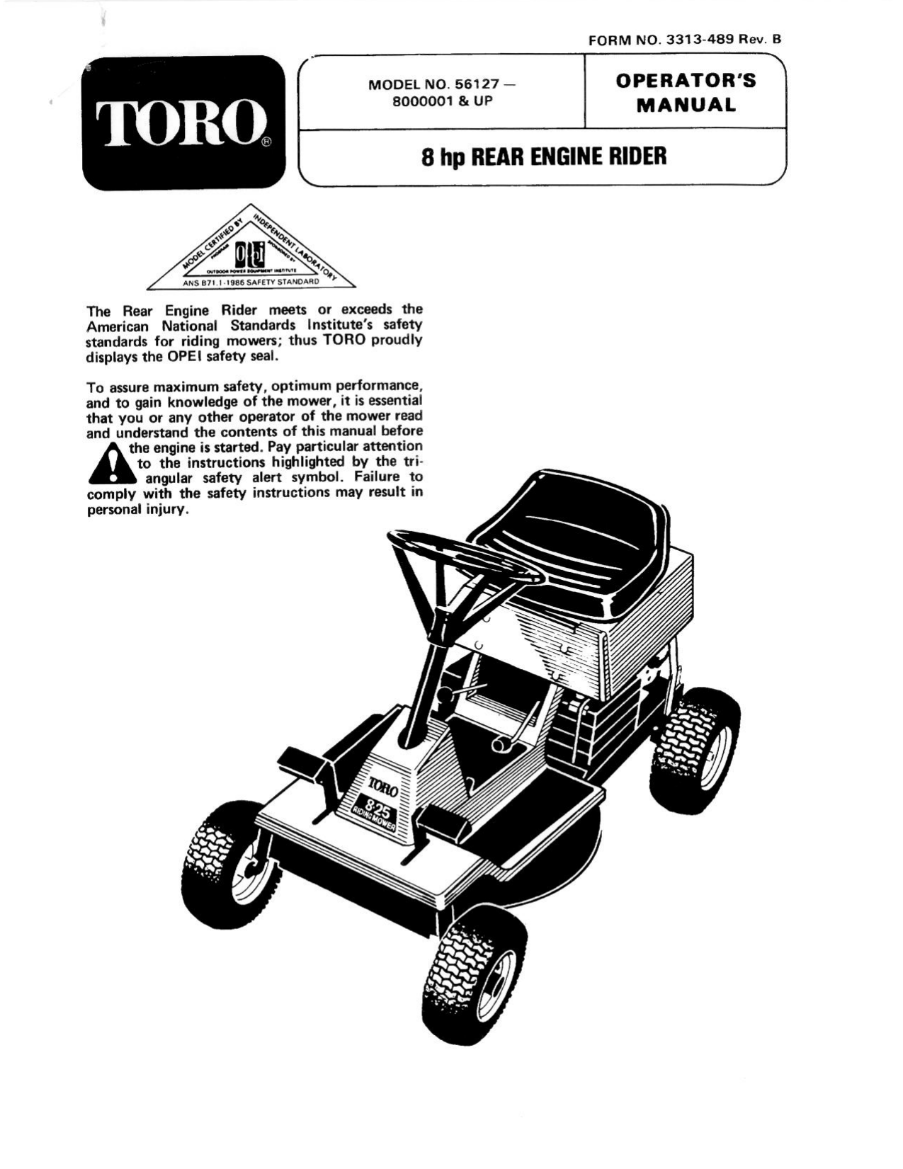Toro 7-25 Rear Engine Rider Riding Product Operator's