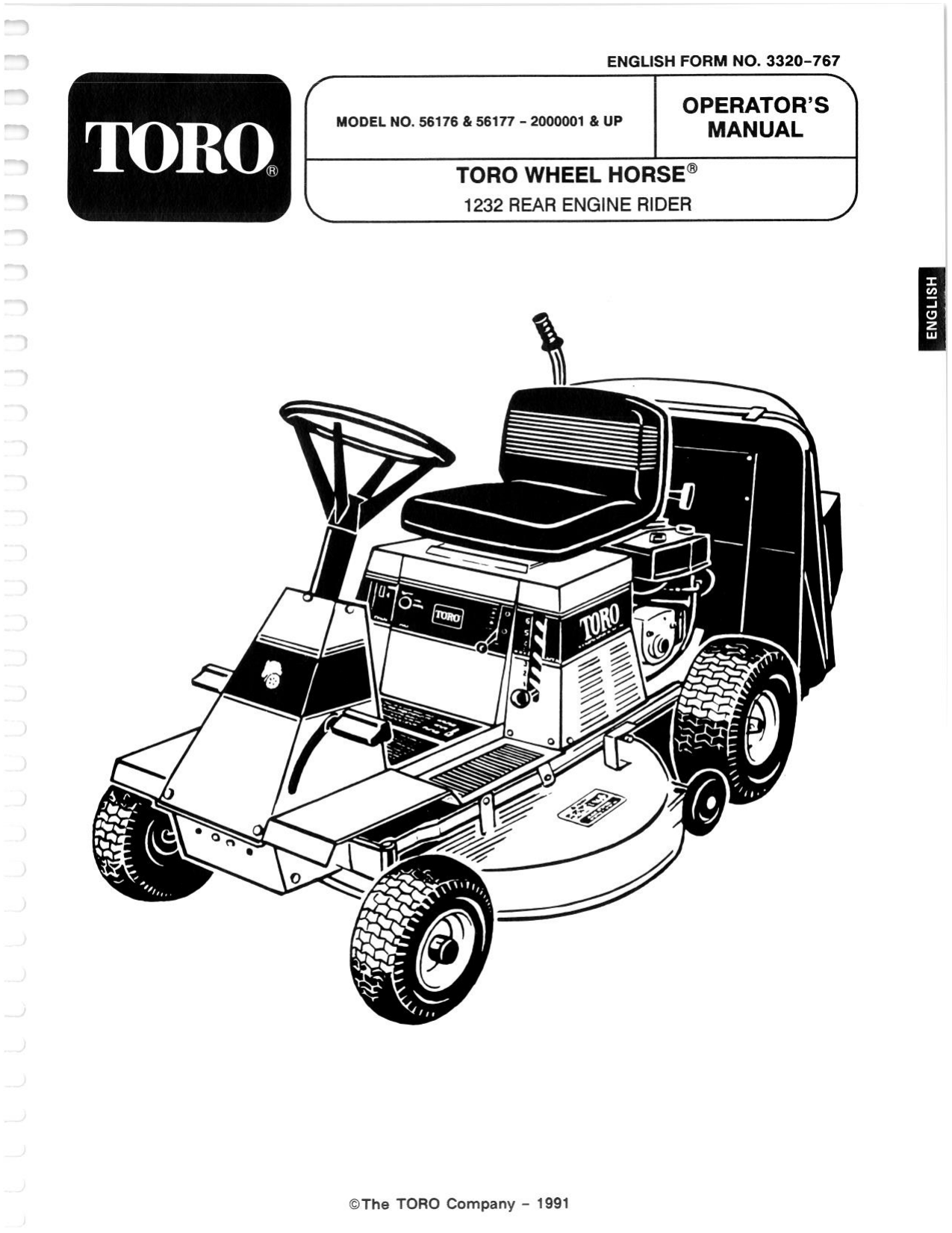 Toro 12-32 Rear Engine Rider Riding Product Operator's