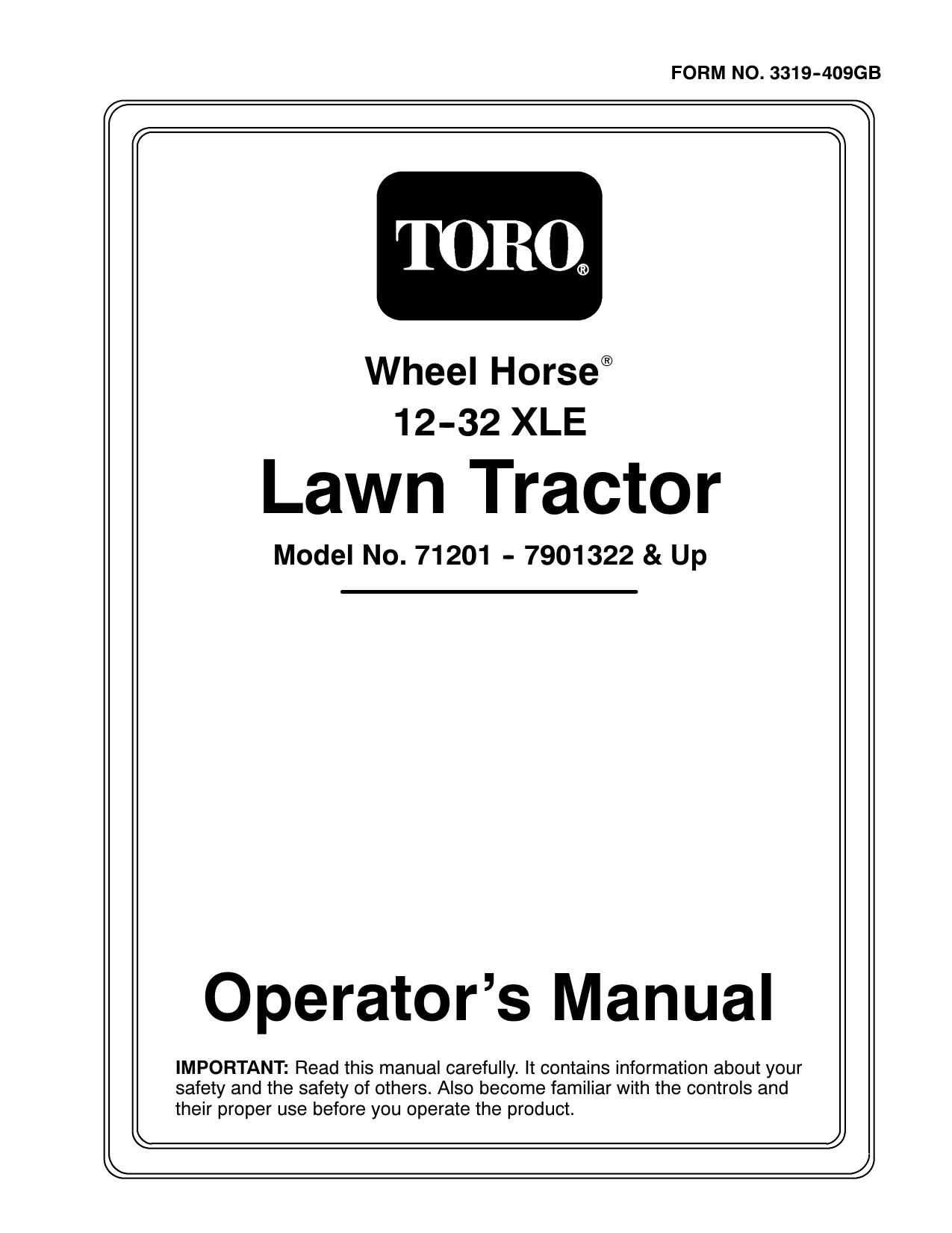 Toro 13-32XL Lawn Tractor Riding Product Operator's Manual