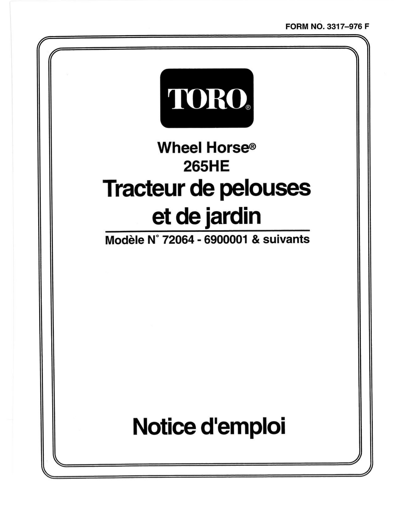 Toro 265-H Lawn and Garden Tractor Riding Product Manuel