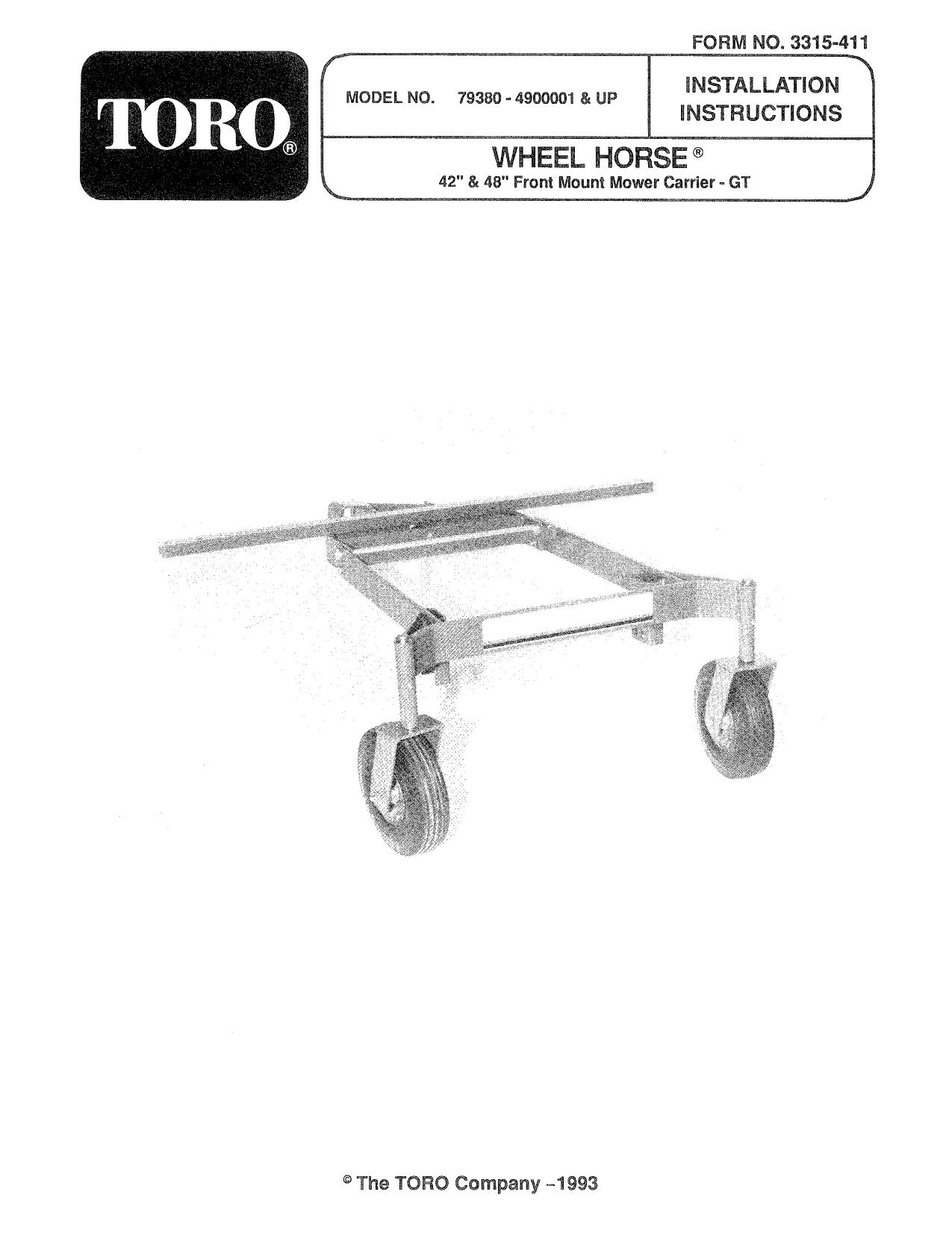 Toro Front Mount Mower Carrier, 300 Series Garden Tractors
