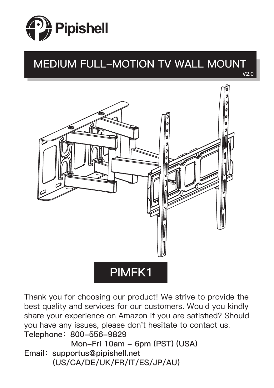 Pipishell PIMFK1 TV Ceiling & Wall Mount User Manual
