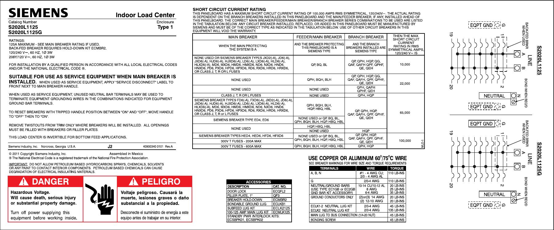 Siemens S2020L1125 ES Series 125 Amp 20-Space 20-Circuit