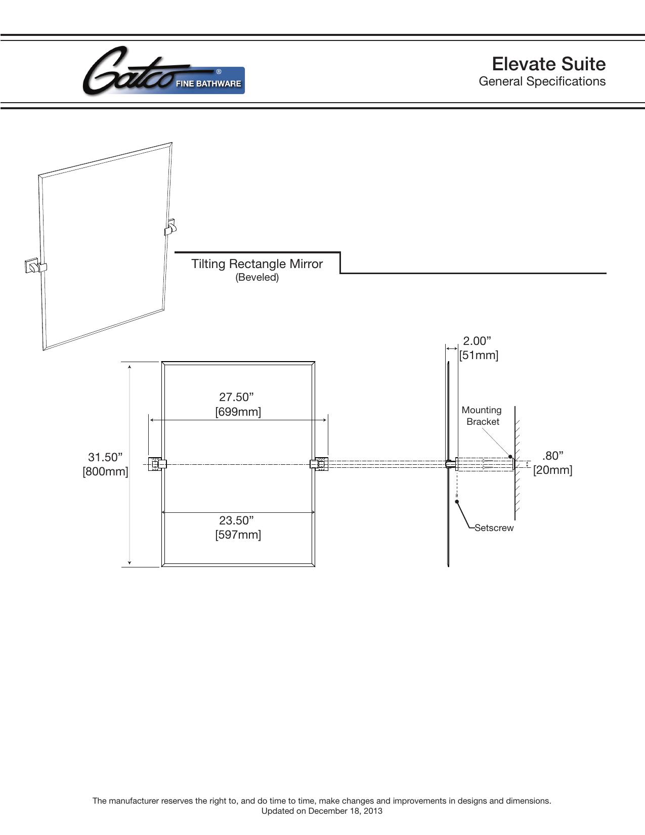 Gatco 4069S Elevate 27.5 in. x 31.5 in. Single Frameless