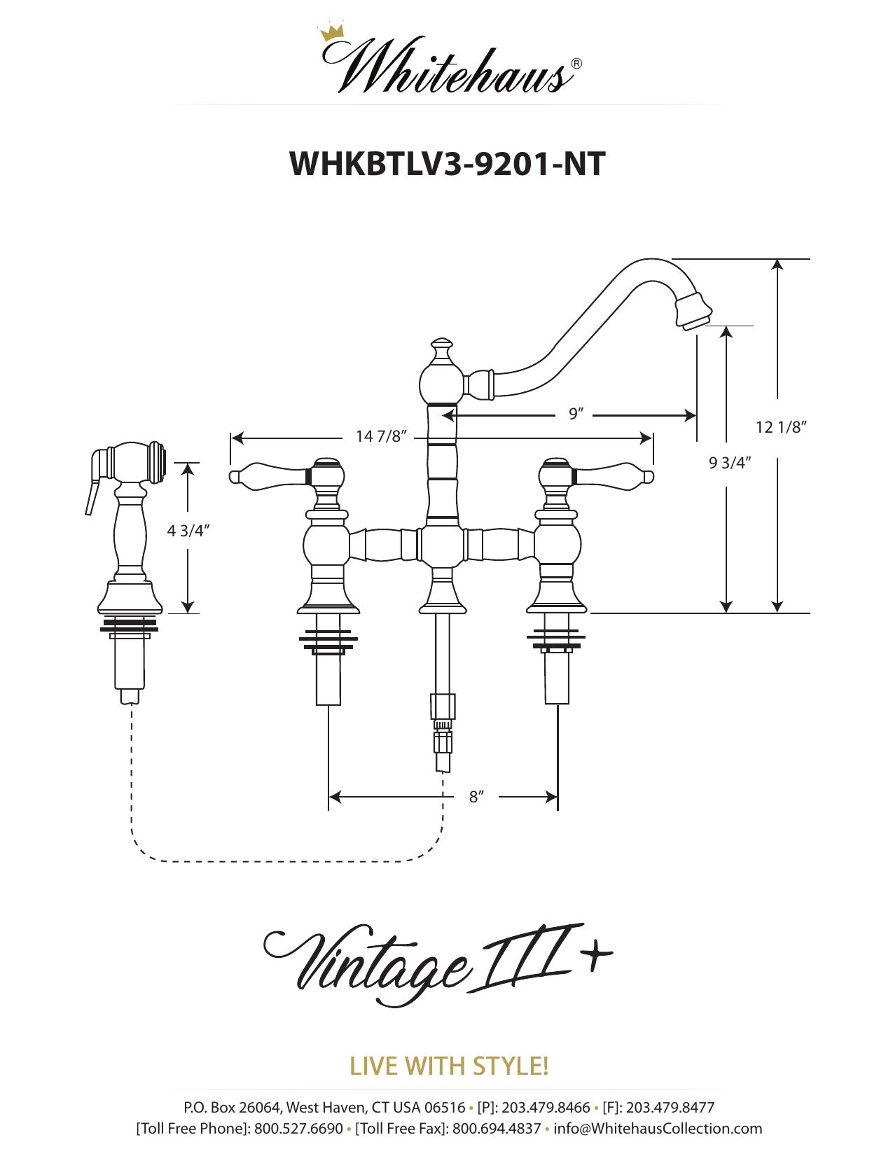 Whitehaus Collection WHKBTLV3-9201-NT-AB Vintage III Plus