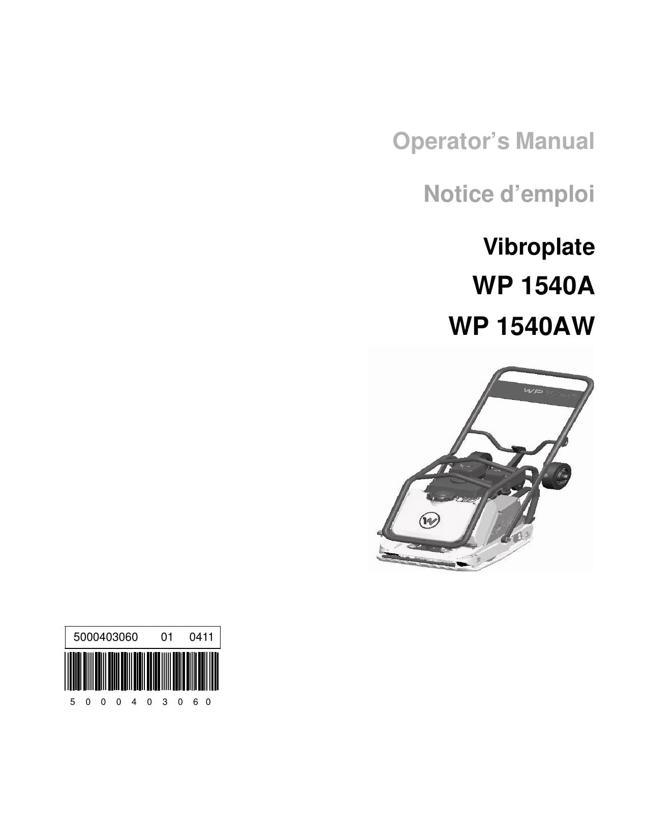 Wacker Neuson Wp A Single Direction Vibratory Plate