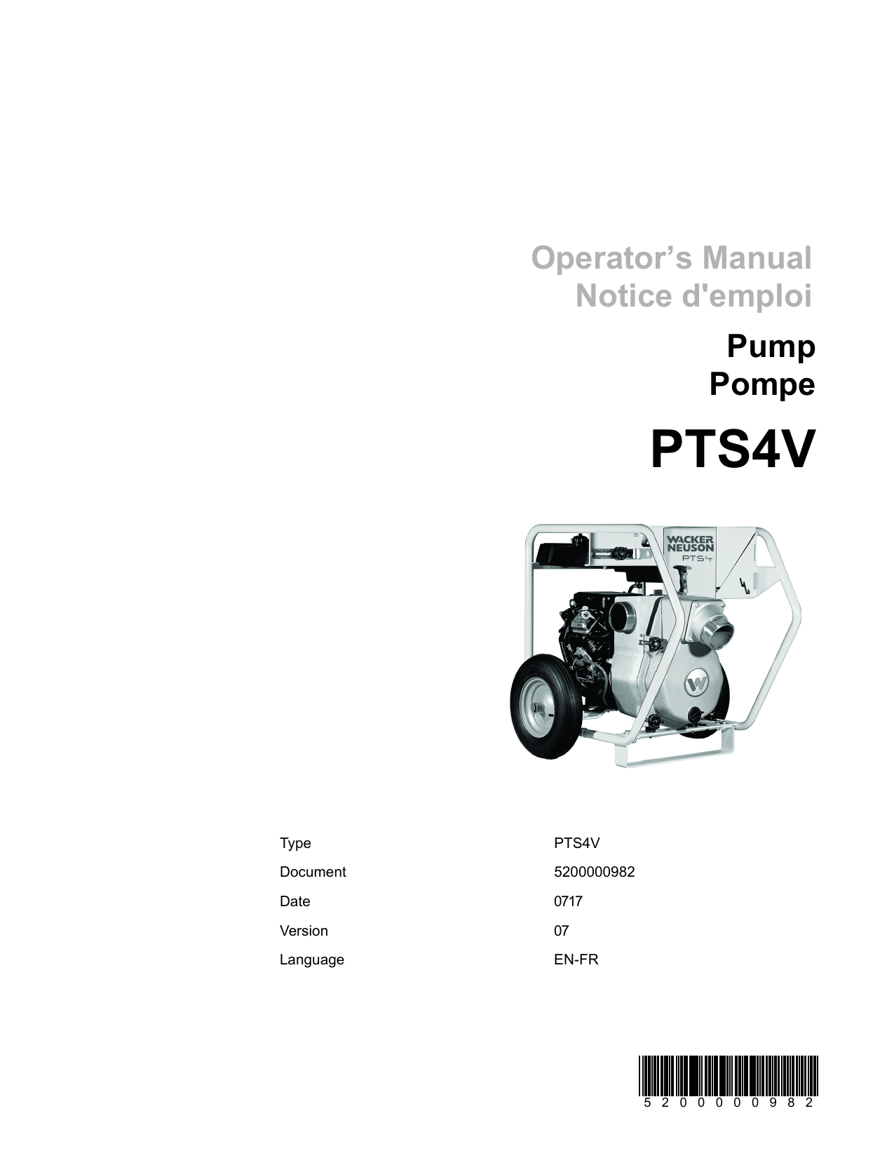 Wacker Neuson PTS4V Self Priming Trash Pump Operator's