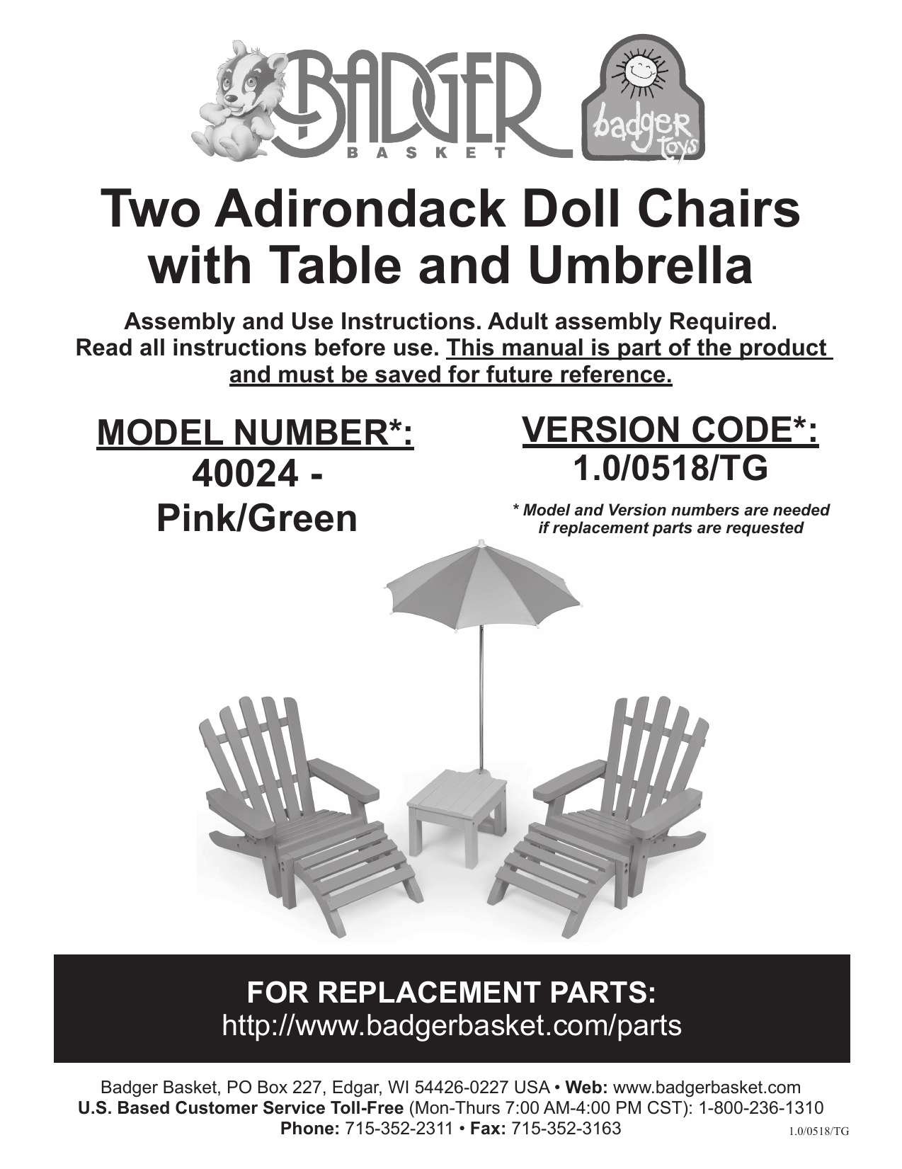 Badger Basket 40024 Two Adirondack Doll Chairs Assembly