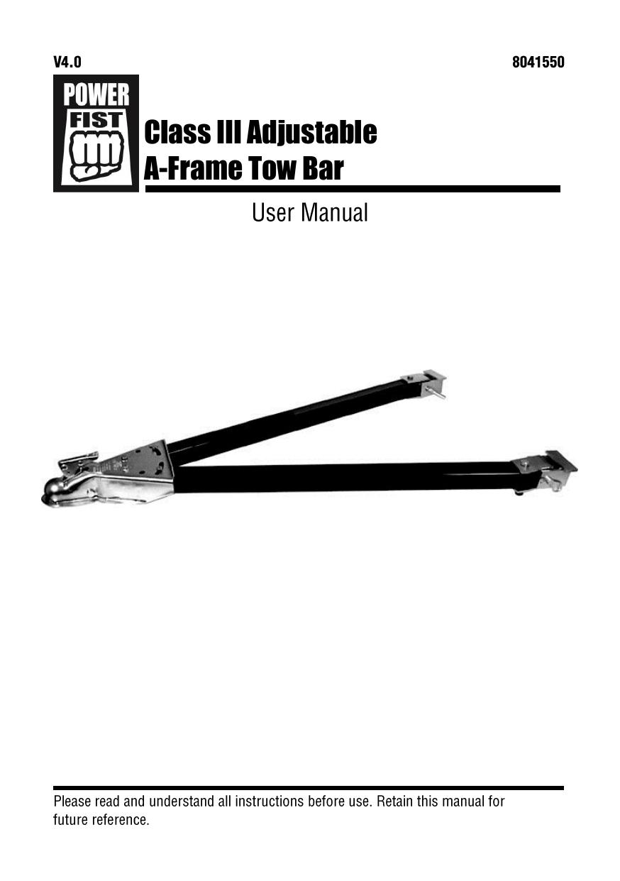 Power Fist 8041550 Class III Adjustable A-Frame Tow Bar