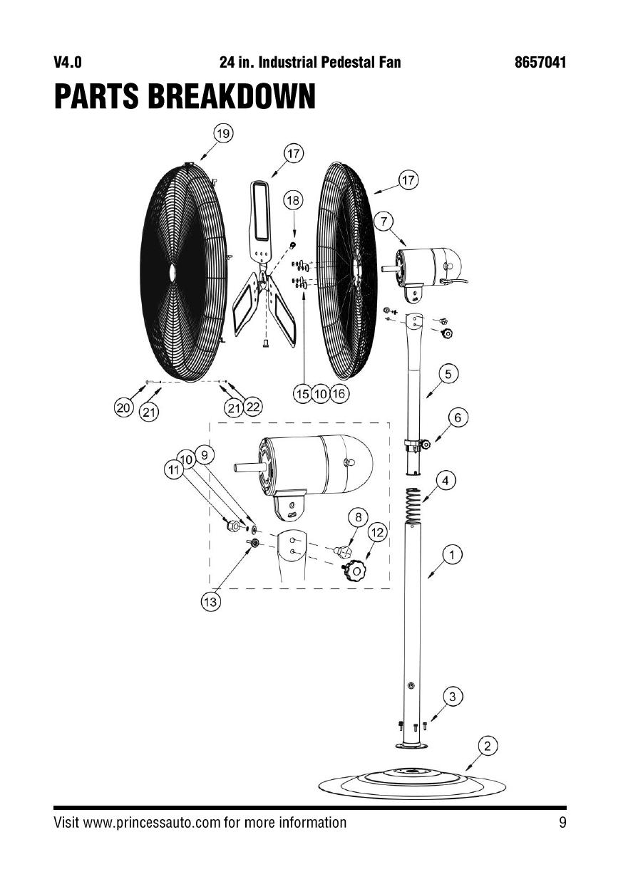 Power Fist 8657041 24 in. Industrial Pedestal Fan Parts