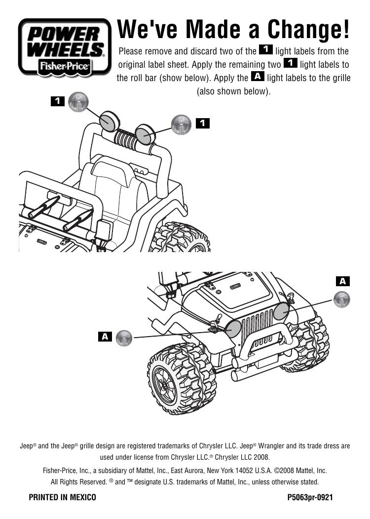 Power Wheels P5063 Firerock™ Jeep® Wrangler Instruction