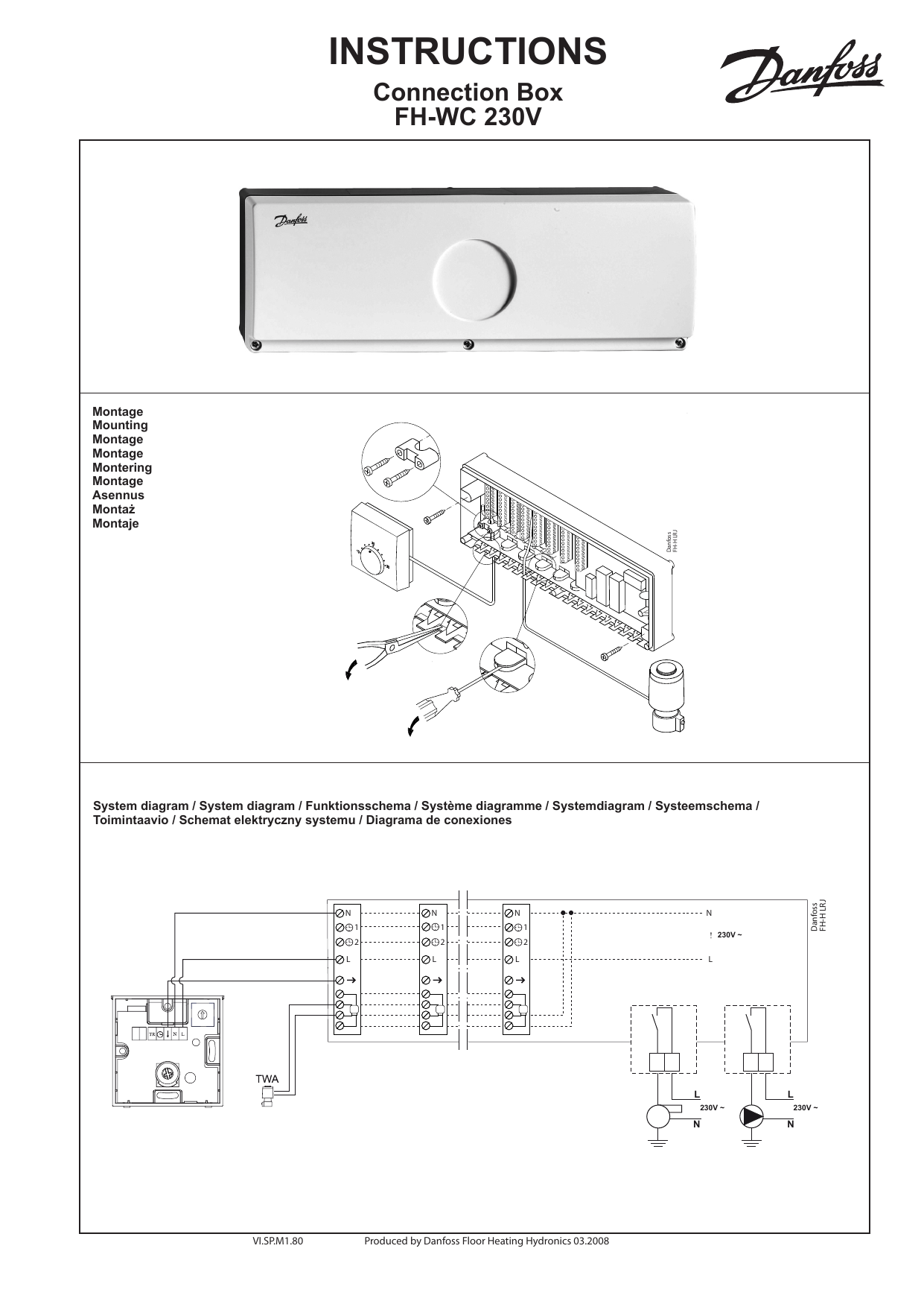 Danfoss FH-WC Connection Box 230 V Installation Guide