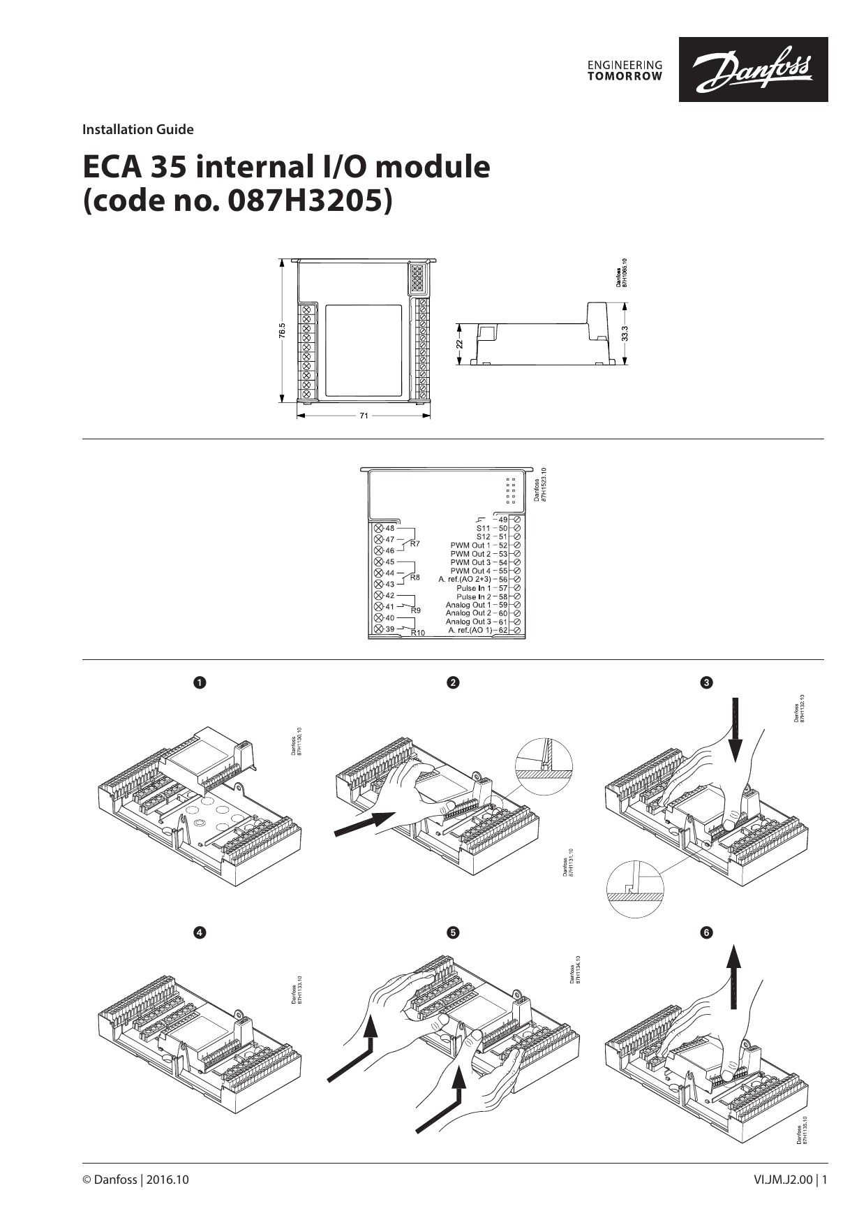 Danfoss ECA 35 internal I/O module Installation Guide