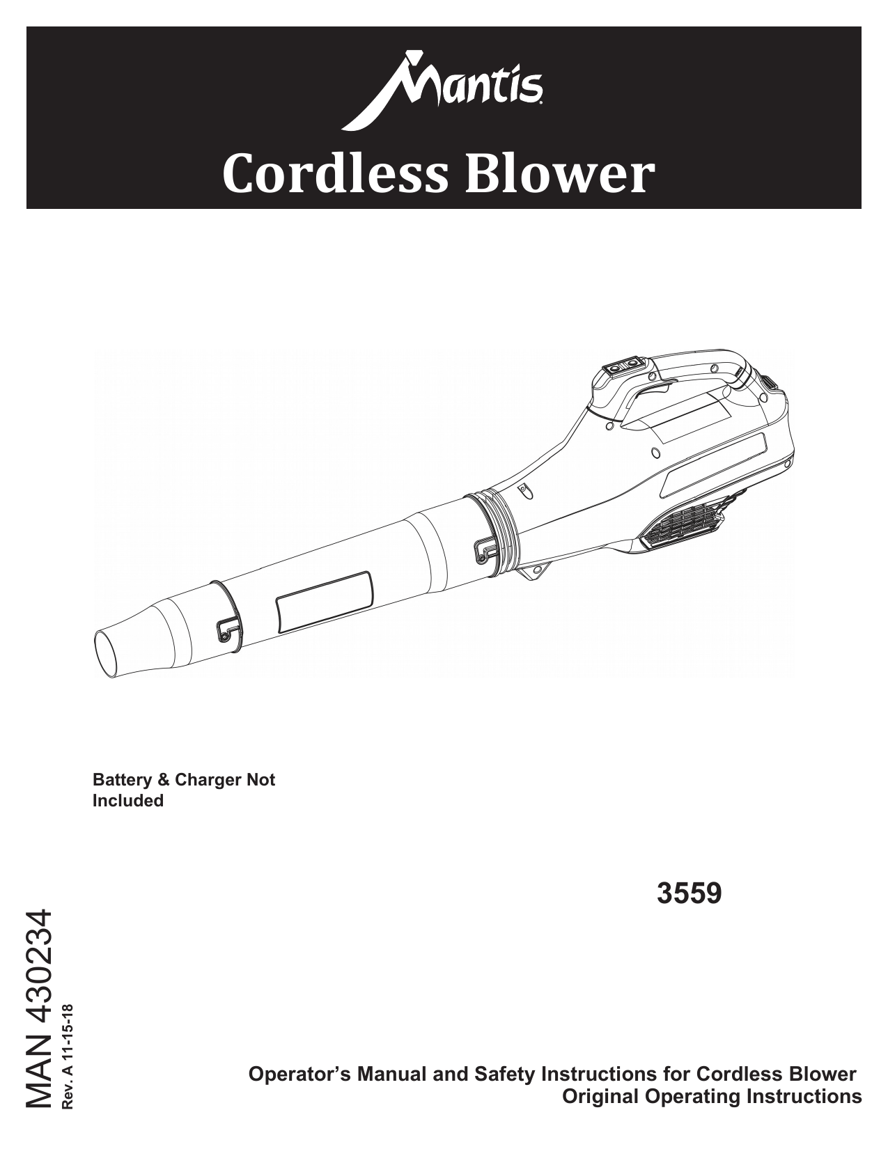 Mantis 3559, 3601, 3621 Cordless Product Owner's Manual