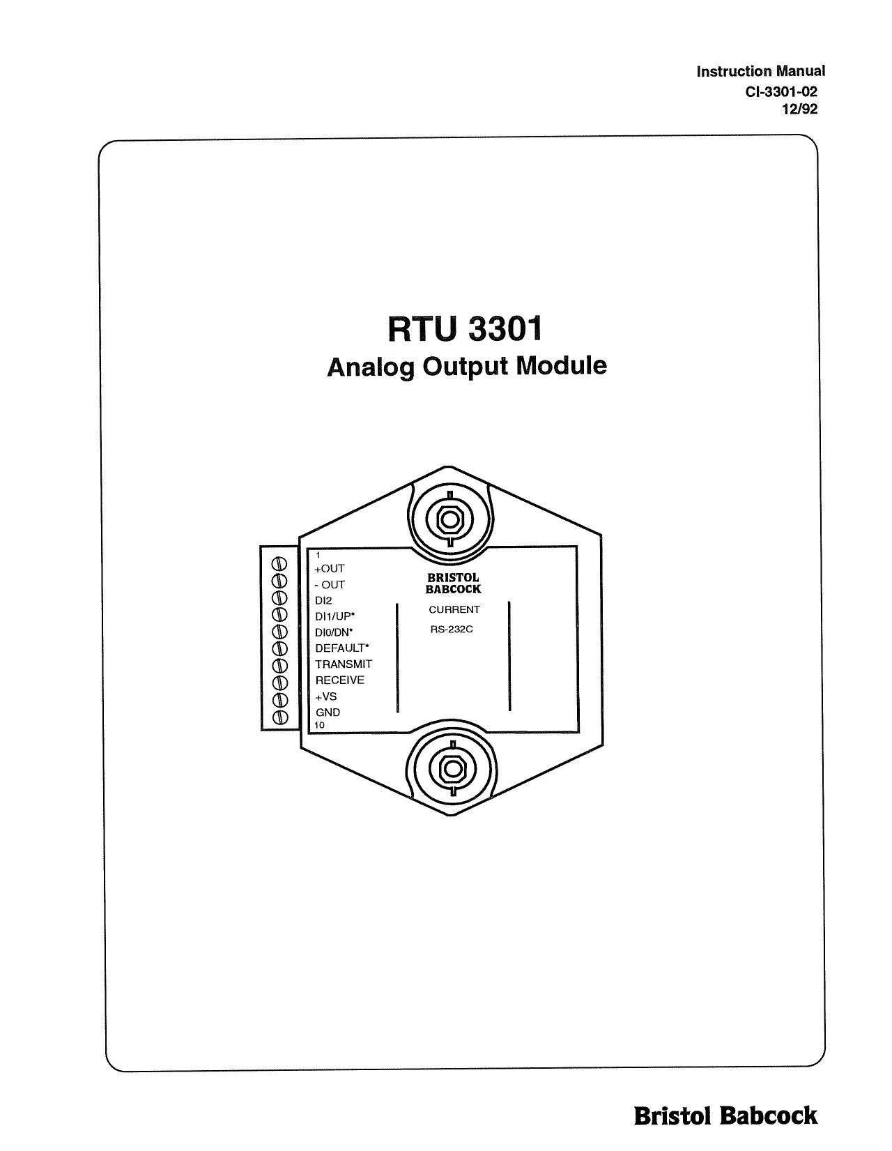 Remote Automation Solutions Bristol RTU 3301 AO, TC, RTD