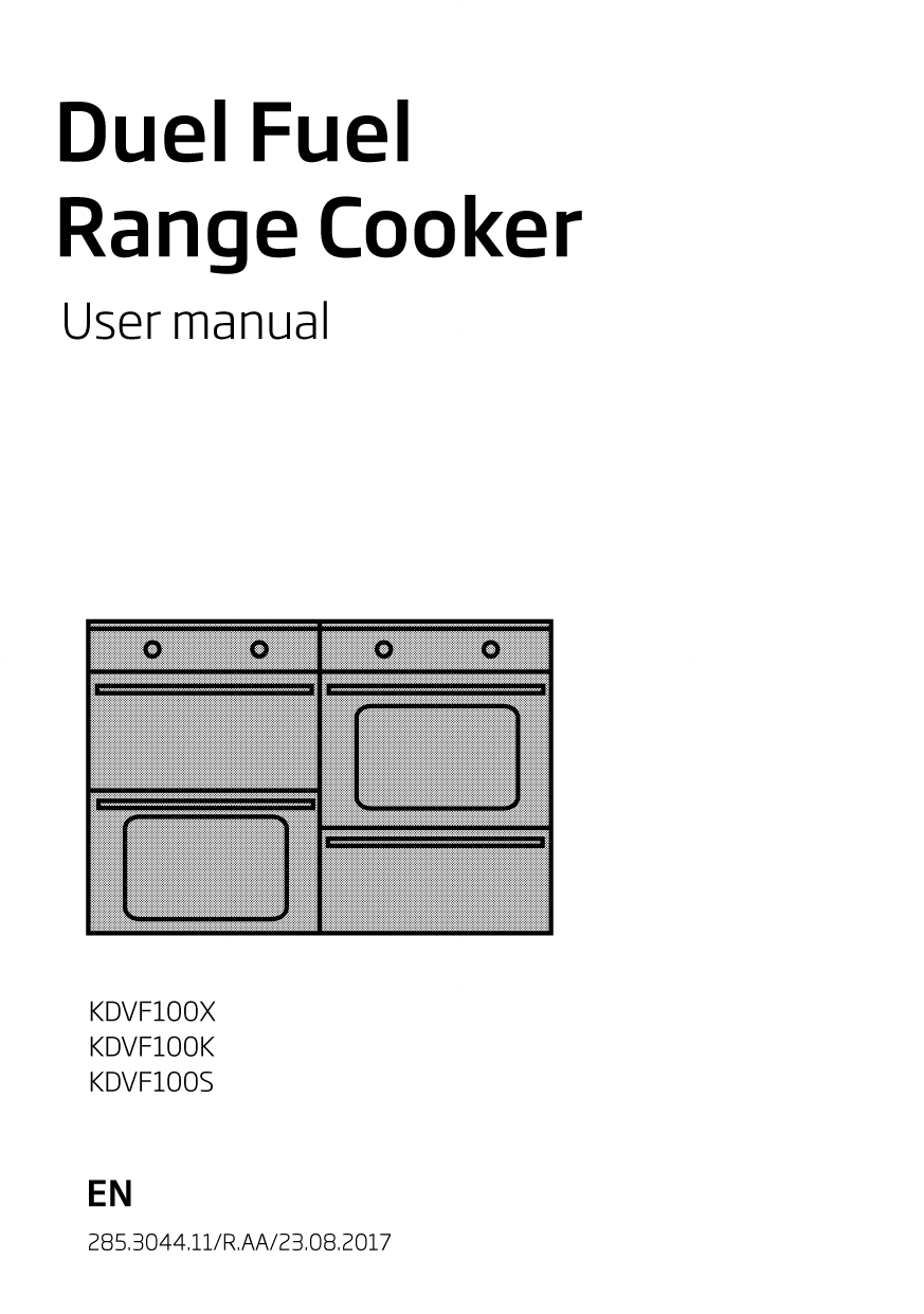 Beko KDVF100X 100cm Dual Fuel Range Cooker Instruction