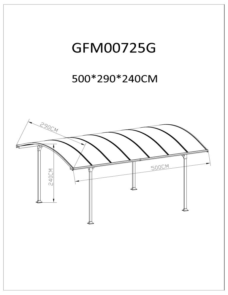 Other ALUMINIUM CARPORT GAZEBO 5X3M, Aluminium 5m x 3m