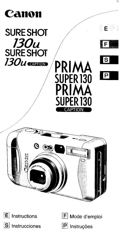 Canon Prima Super 130, Sure Shot 130u Owner's manual