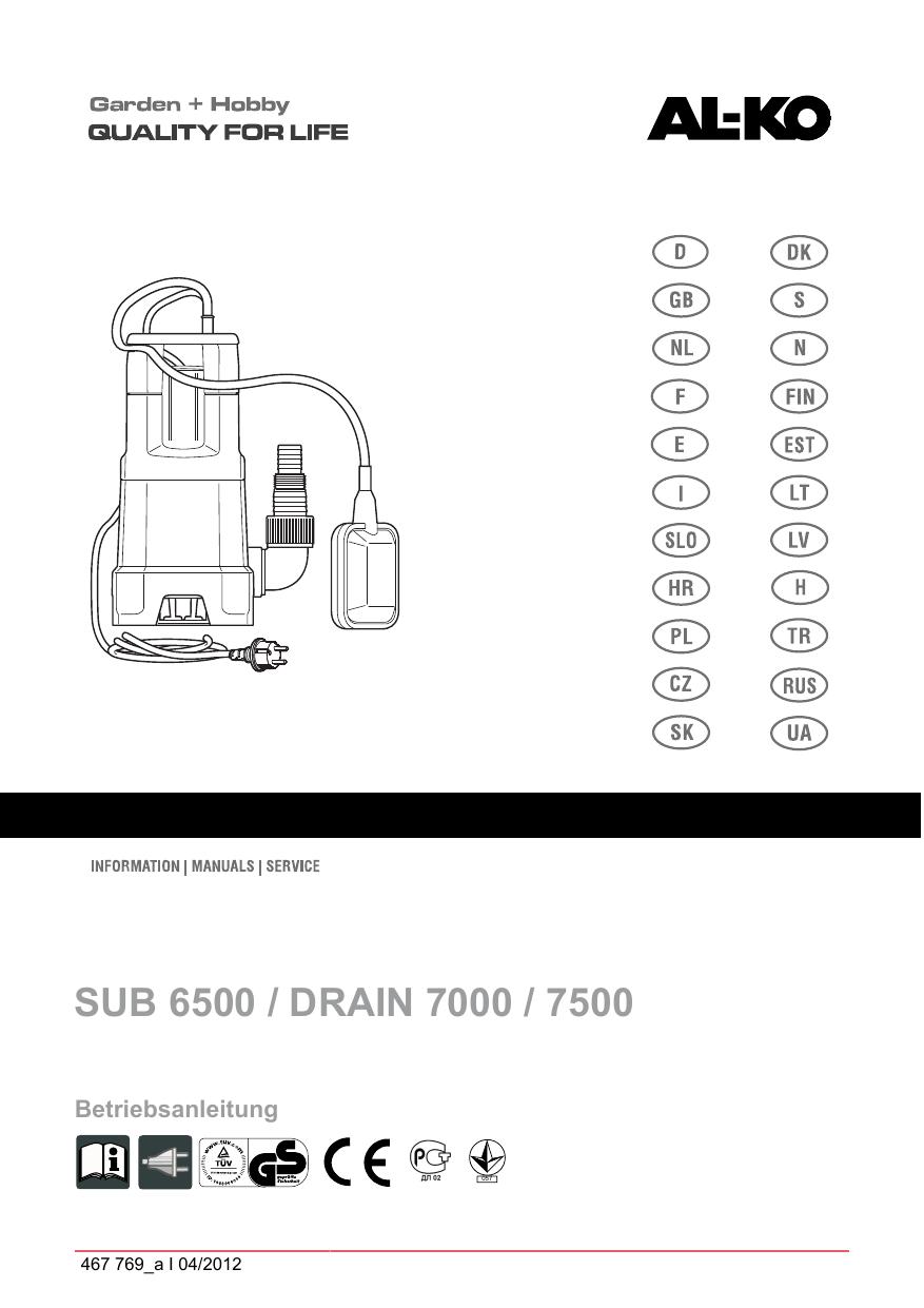AL-KO Submersible Pump Drain 7500 Classic Manuel