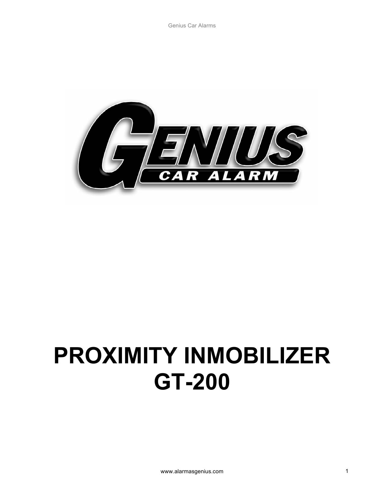 Genius Car Alarm Inmobilizer Genius GT200 El manual del