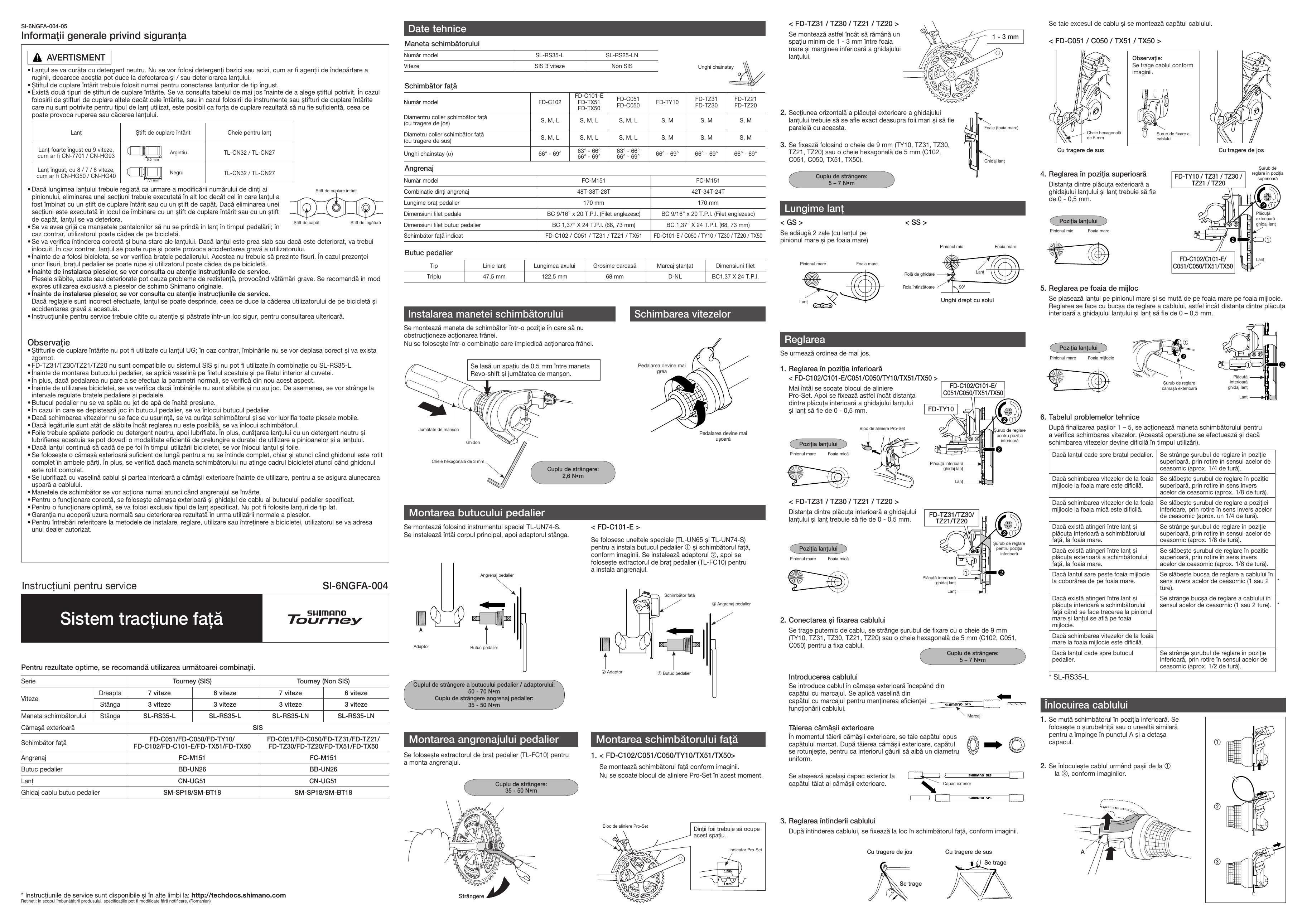 Shimano SL-RS35, FD-TZ21, FD-TZ20, FD-C101, FD-C051, FD