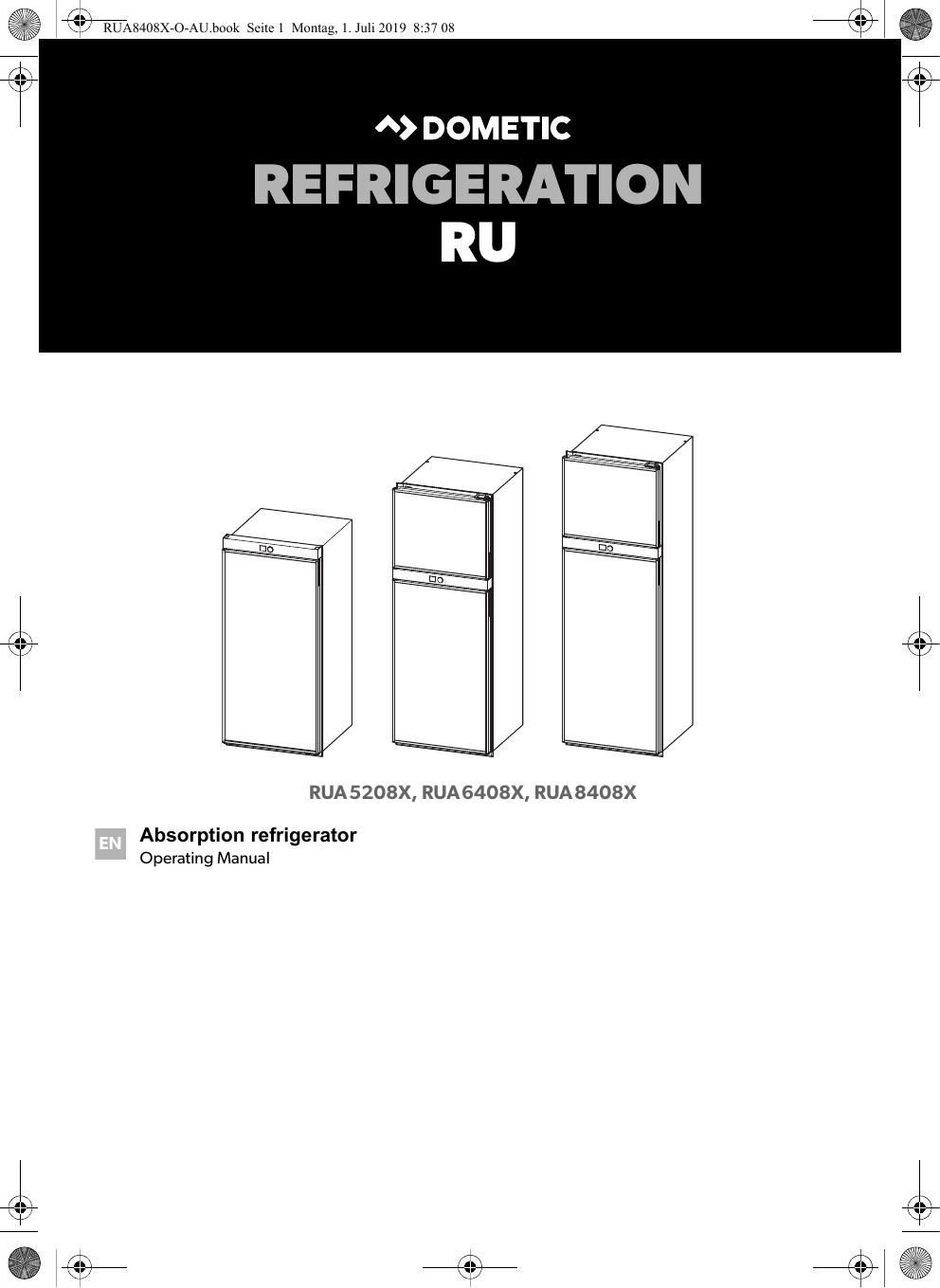 Dometic RUA5208X, RUA6408X, RUA8408X Operating Manual