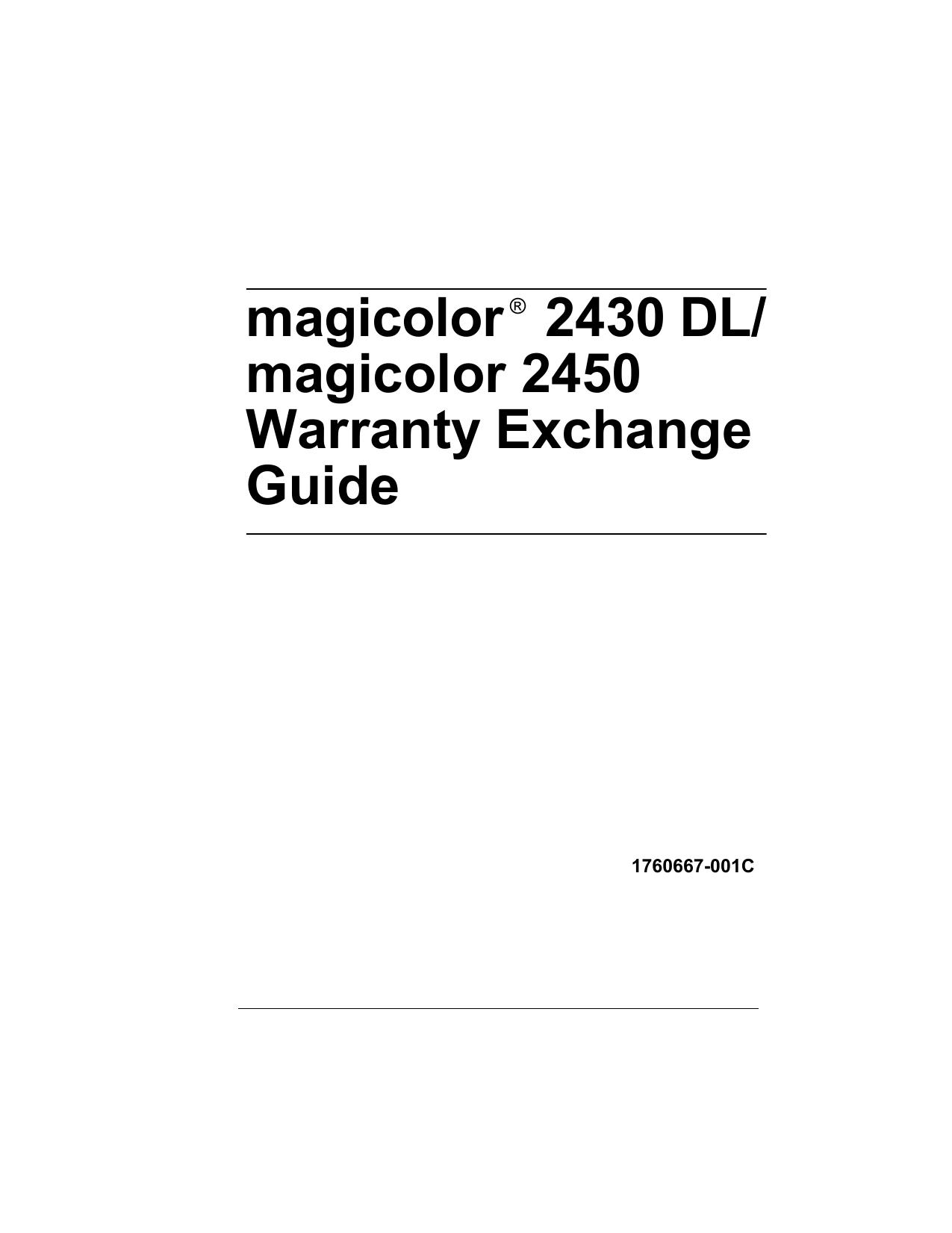 Konica Minolta Magicolor 2450, magicolor 2430 DL Manual