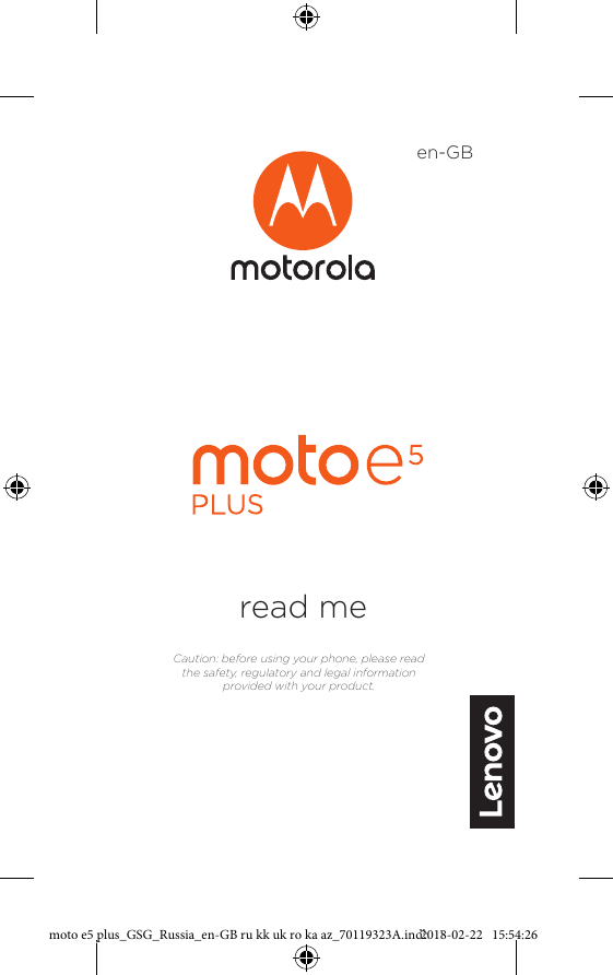 Motorola MOTO E5 Plus XT1924-1 Flash Gray User manual