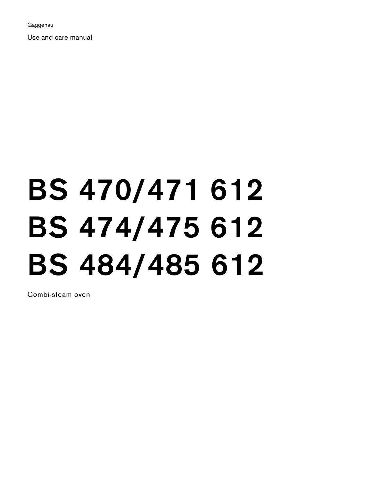 Gaggenau BS 470 612 /471 612, BS 474 612, BS 475 612, BS