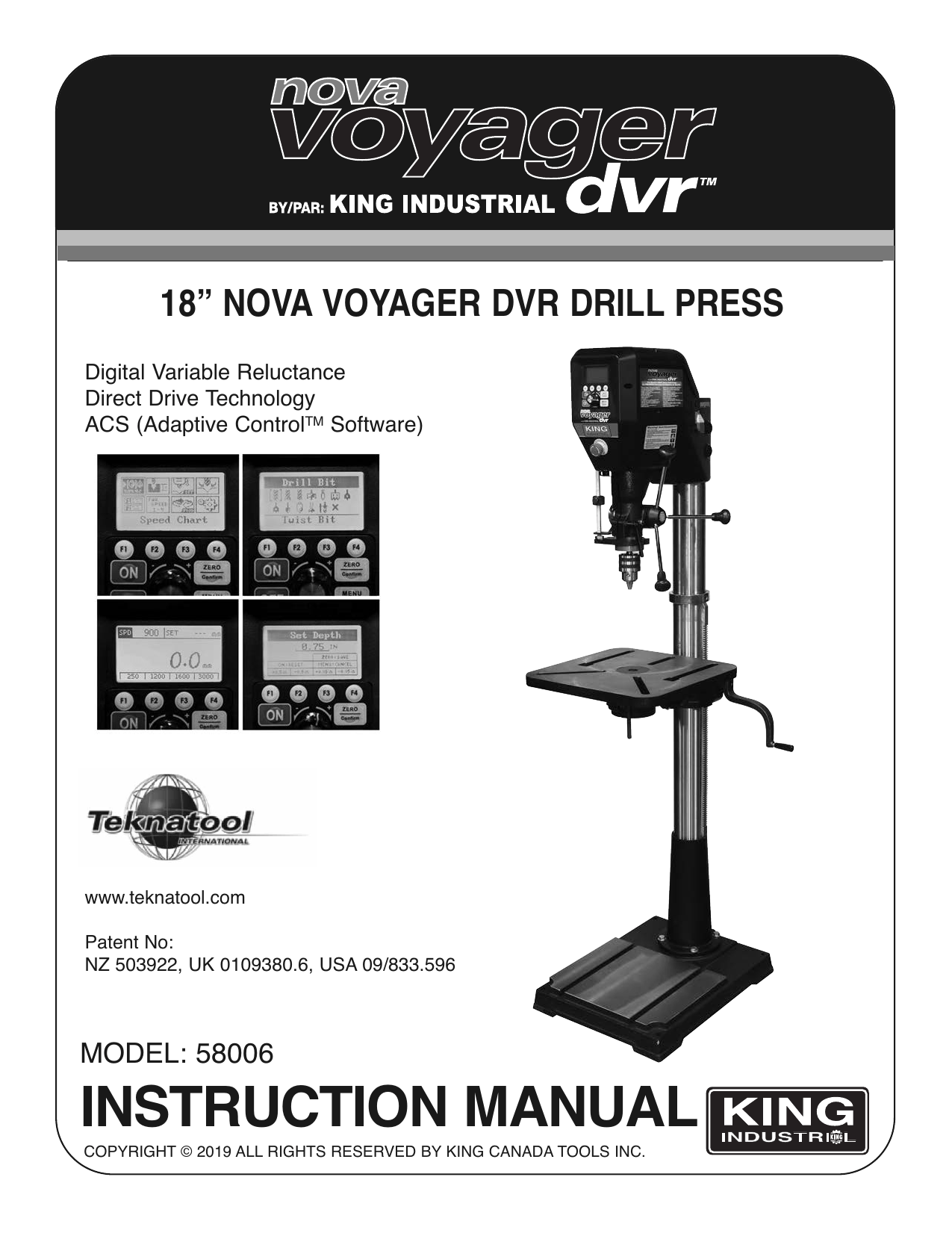 King Canada 58006 18'' NOVA VOYAGER DVR DRILL PRESS