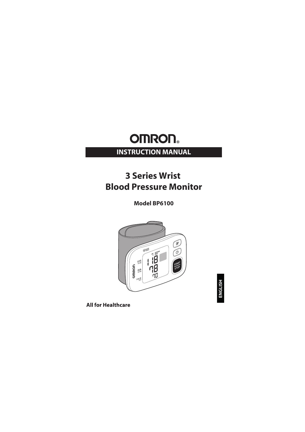 Omron BP6100 3 Series® Wrist Blood Pressure Monitor Manual