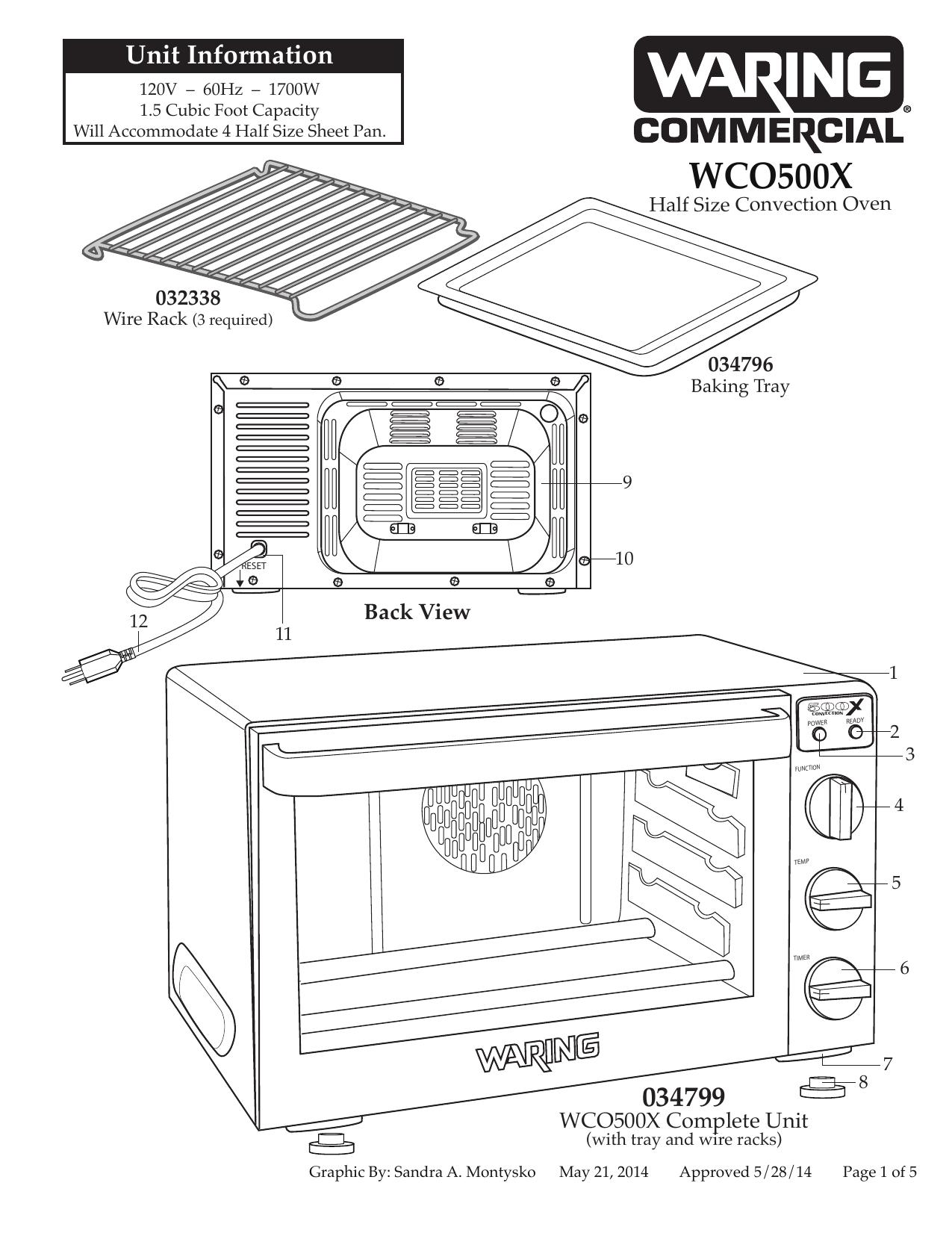 Waring WCO500X Half-Size Convection Oven Parts Diagram