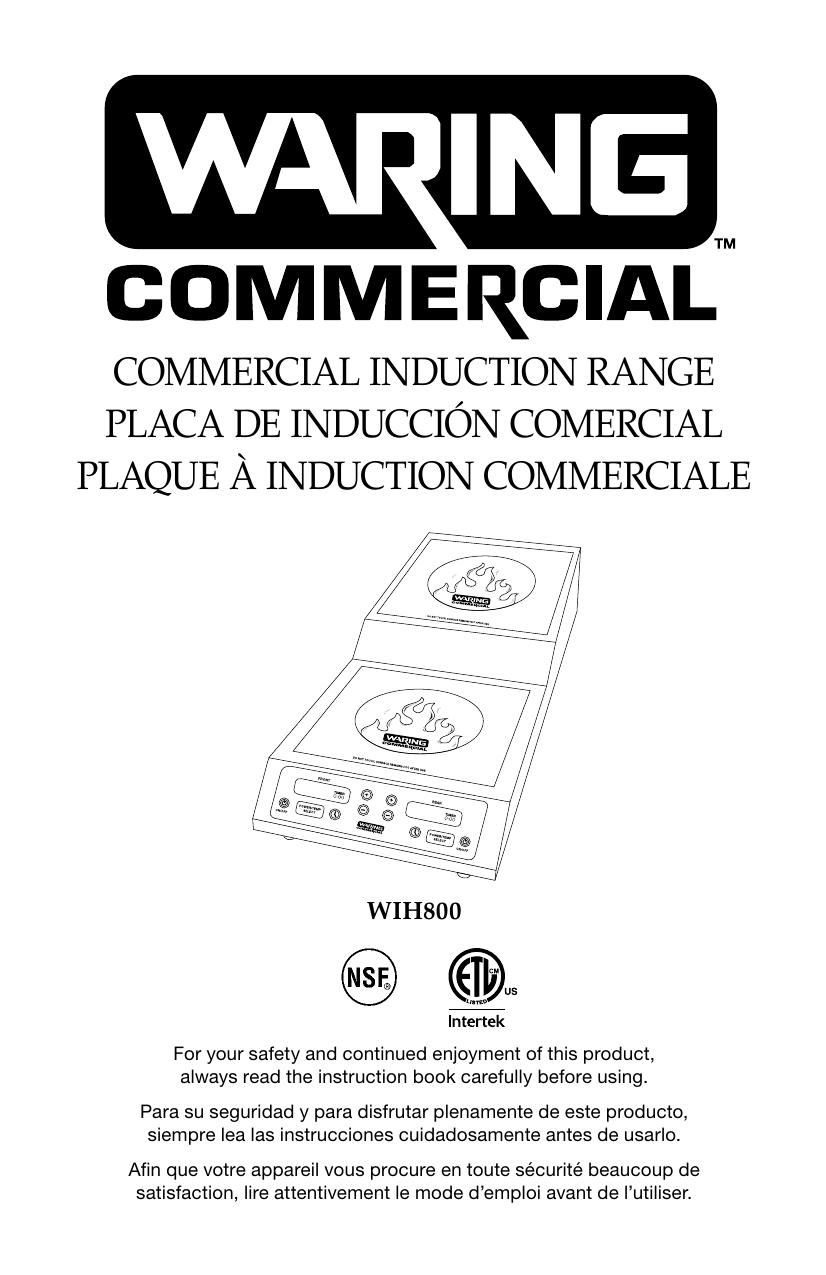 Waring WIH800 STEP-UP Double Induction Range Instruction