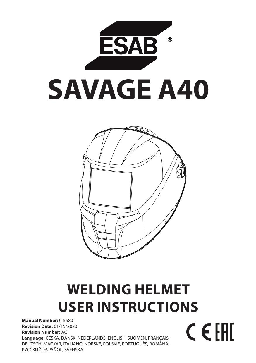 ESAB ESAB SAVAGE A40 Welding Helmet Manuel utilisateur
