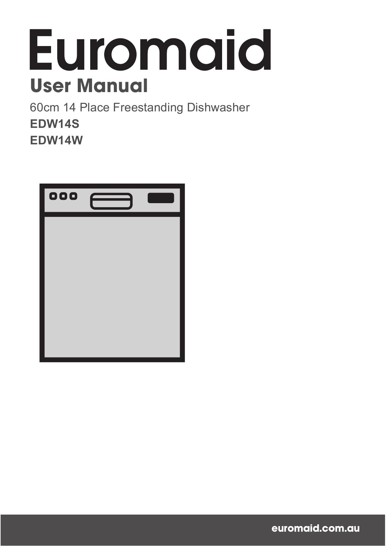 Euromaid 14 Place 60cm Freestanding Dishwasher User Manual